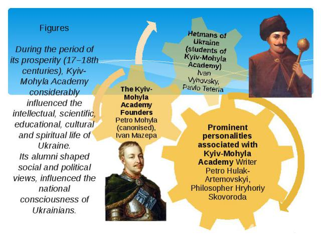 Figures During the period of its prosperity (17–18th centuries), Kyiv-Mohyla Academy considerably influenced the intellectual, scientific, educational, cultural and spiritual life of Ukraine. Its alumni shaped social and political views, influenced …