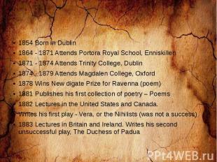 1854 Born in Dublin 1864 - 1871 Attends Portora Royal School, Enniskillen 1871 -
