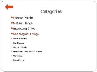 Categories Famous People Natural Things Interesting Cities Sociological Things O