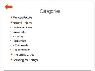 Categories Famous People Natural Things Continental Climate Largest Lake NZ's Fr