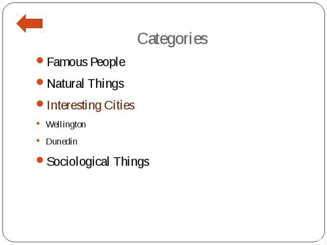 Categories Famous People Natural Things Interesting Cities Wellington Dunedin Sociological Things