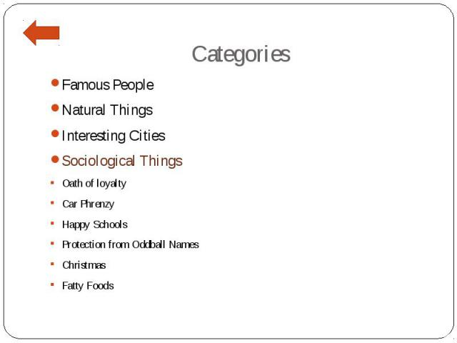 Categories Famous People Natural Things Interesting Cities Sociological Things Oath of loyalty Car Phrenzy Happy Schools Protection from Oddball Names Christmas Fatty Foods