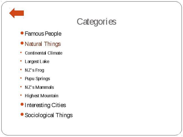 Categories Famous People Natural Things Continental Climate Largest Lake NZ's Frog Pupu Springs NZ's Mammals Highest Mountain Interesting Cities Sociological Things