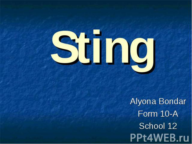 Sting Alyona Bondar Form 10-A School 12