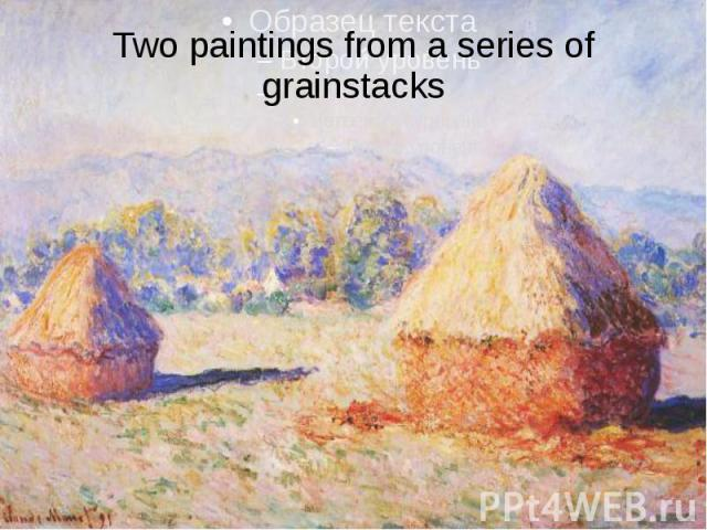 Two paintings from a series of grainstacks