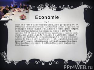 Économie Cannes est au centre de la zone d'emploi de Cannes-Antibes qui comptait