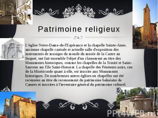 Patrimoine religieux L'église Notre-Dame-de-l'Espérance et la chapelle Sainte-An