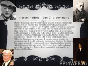 Personnalités liées à la commune Nombre de personnalités sont nées à Cannes. D'a