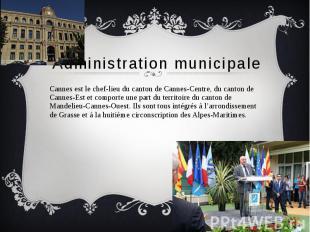 Administration municipale Cannes est le chef-lieu du canton de Cannes-Centre, du