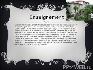 Enseignement La commune de Cannes est rattachée à l'académie de Nice, elle dispo
