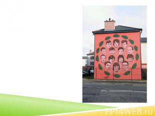 Mural by Bogside Artists depicting all who were killed by the British Army on th