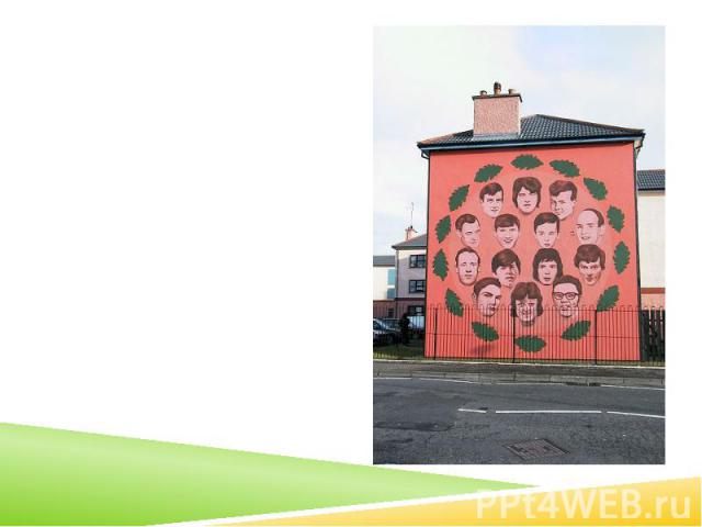 Mural by Bogside Artists depicting all who were killed by the British Army on the day