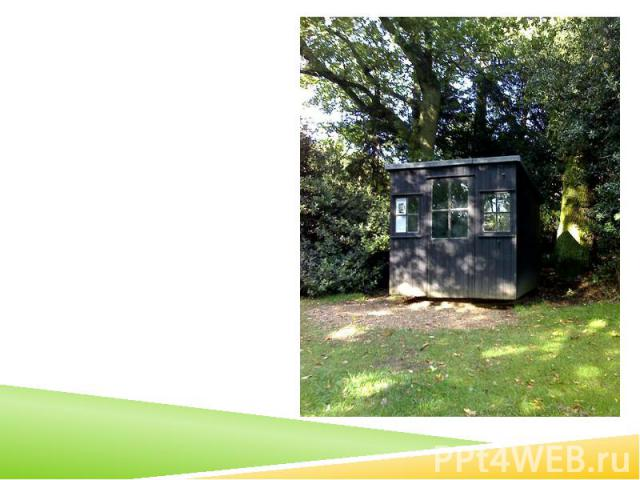 The movable hut in the garden of Shaw's Corner, where Shaw wrote most of his works after 1906, including Pygmalion.