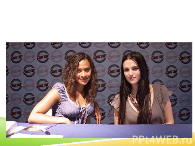 Katie McGrath (right) with Merlin co-star Angel Coulby (left)