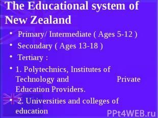 The Educational system of New Zealand Primary/ Intermediate ( Ages 5-12 ) Second