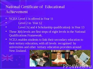 National Certificate of Educational Achievement NCEA Level 1 is offered in Year