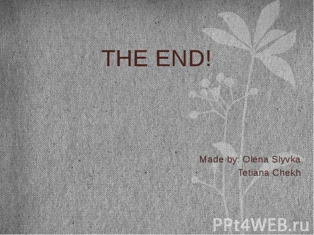 THE END! THE END! Made by: Olena Slyvka Tetiana Chekh