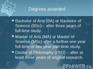 Bachelor of Arts (BA) or Bachelor of Science (BSc) – after three years of full-t