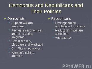 Democrats and Republicans and Their Policies Democrats Support welfare programs