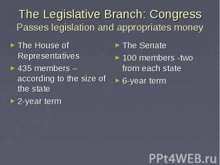 The Legislative Branch: Congress Passes legislation and appropriates money The H
