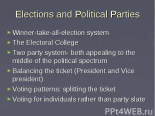 Elections and Political Parties Winner-take-all-election system The Electoral Co