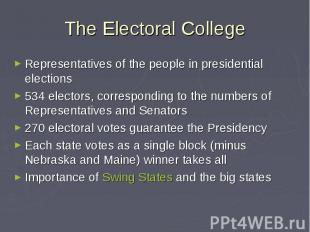 The Electoral College Representatives of the people in presidential elections 53