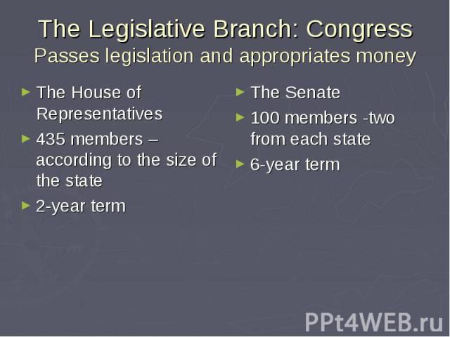 The Legislative Branch: Congress Passes legislation and appropriates money The House of Representatives 435 members –according to the size of the state 2-year term