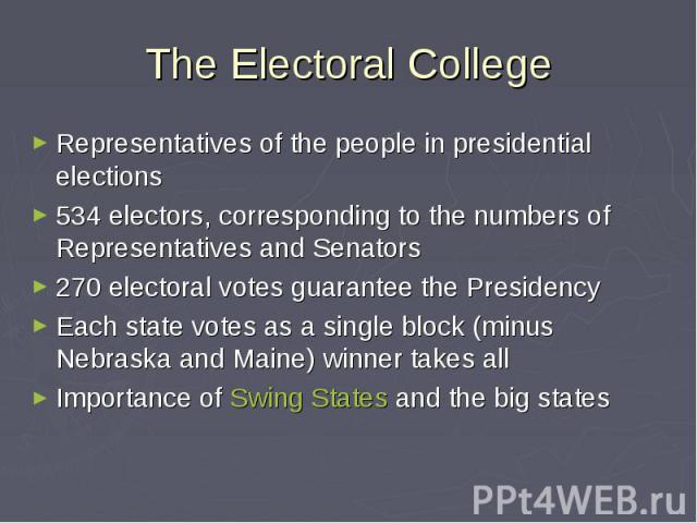 a examination of the electoral college in presidential elections The electoral college should be abolished the presidential election process, 2008 why has this anachronistic system survived in the following viewpoint, john b anderson analyzes the arguments for and against the.