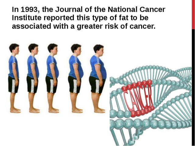 In 1993, the Journal of the National Cancer Institute reported this type of fat to be associated with a greater risk of cancer. In 1993, the Journal of the National Cancer Institute reported this type of fat to be associated with a greater risk of cancer.