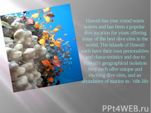 Hawaii has year round warm waters and has been a popular dive location for years