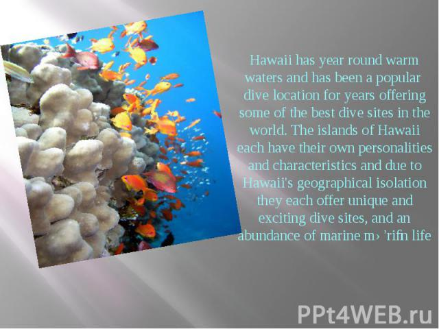 Hawaii has year round warm waters and has been a popular dive location for years offering some of the best dive sites in the world. The islands of Hawaii each have their own personalities and characteristics and due to Hawaii's geographical isolatio…