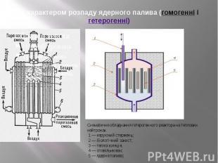 за характером розпаду ядерного палива (гомогенні і гетерогенні)