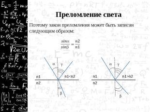 Преломление света Поэтому закон преломления может быть записан следующим образом