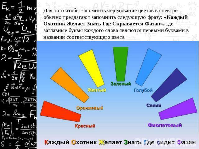 Для того чтобы запомнить чередование цветов в спектре, обычно предлагают запомнить следующую фразу: «Каждый Охотник Желает Знать Где Скрывается Фазан», где заглавные буквы каждого слова являются первыми буквами в названии соответствующего цвета. Для…