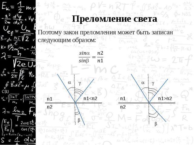 Преломление света Поэтому закон преломления может быть записан следующим образом: