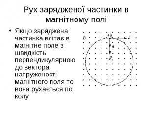 Якщо заряджена частинка влітає в магнітне поле з швидкість перпендикулярною до в