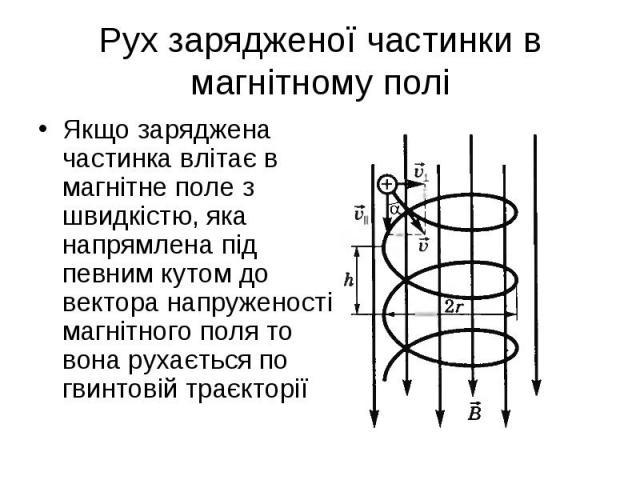 Якщо заряджена частинка влітає в магнітне поле з швидкістю, яка напрямлена під певним кутом до вектора напруженості магнітного поля то вона рухається по гвинтовій траєкторії Якщо заряджена частинка влітає в магнітне поле з швидкістю, яка напрямлена …