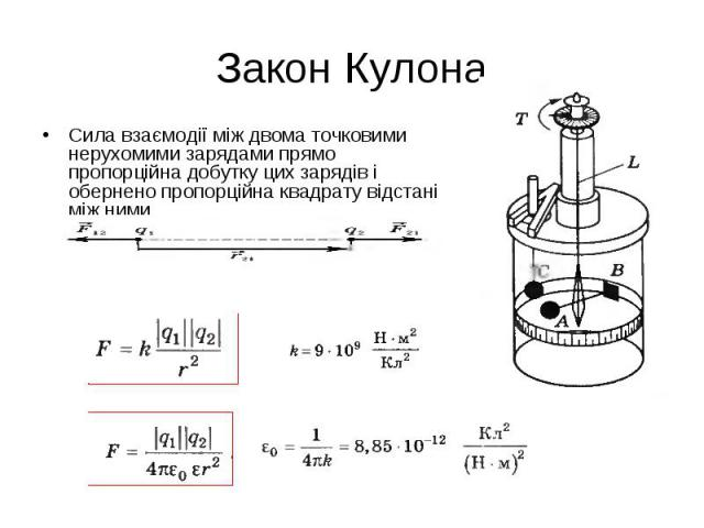 Сила взаємодії між двома точковими нерухомими зарядами прямо пропорційна добутку цих зарядів і обернено пропорційна квадрату відстані між ними Сила взаємодії між двома точковими нерухомими зарядами прямо пропорційна добутку цих зарядів і обернено пр…
