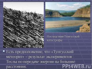 Есть предположение, что «Тунгусский метеорит» – результат экспериментов Теслы по
