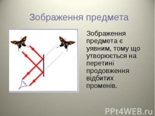 Зображення предмета є уявним, тому що утворюється на перетині продовження відбит