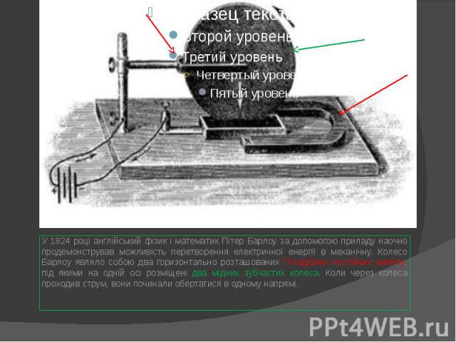 У 1824 році англійський фізик і математик Пітер Барлоу за допомогою приладу наочно продемонстрував можливість перетворення електричної енергії в механічну. Колесо Барлоу являло собою два горизонтально розташованих П-подібних постійних магніту, під я…