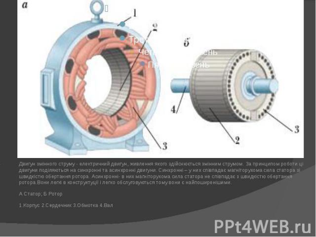 Двигун змінного струму - електричний двигун, живлення якого здійснюється змінним струмом. За принципом роботи ці двигуни поділяються на синхронні та асинхронні двигуни. Синхронні – у них співпадає магніторухома сила статора зі швидкістю обертання ро…