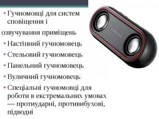 Гучномовці для систем сповіщення і Гучномовці для систем сповіщення і озвучуванн