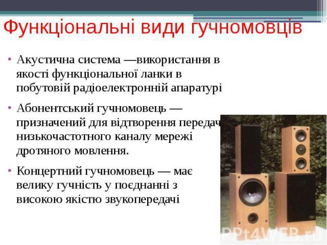 Функціональні види гучномовців Акустична система —використання в якості функціональної ланки в побутовій радіоелектронній апаратурі Абонентський гучномовець —призначений для відтворення передач низькочастотного каналу мережі дротяного мовлення. Конц…