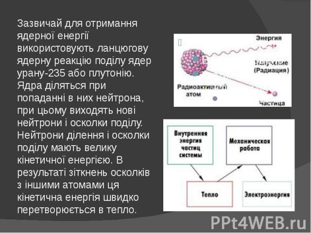 Зазвичай для отримання ядерної енергії використовують ланцюгову ядерну реакцію поділу ядер урану-235 або плутонію. Ядра діляться при попаданні в них нейтрона, при цьому виходять нові нейтрони і осколки поділу. Нейтрони ділення і осколки поділу мають…