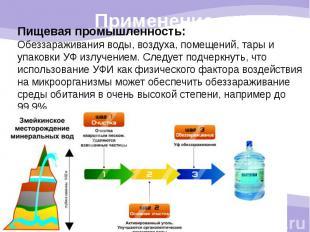 Пищевая промышленность: Обеззараживания воды, воздуха, помещений, тары и упаковк