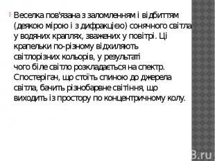Веселка пов'язана з заломленням і відбиттям (деякою мірою і здифракцією) с