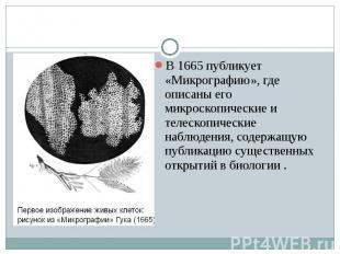 В 1665 публикует «Микрографию», где описаны его микроскопические и телескопическ