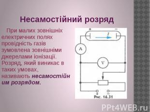 Несамостійний розряд При малих зовнішніх електричних полях провідність газів зум