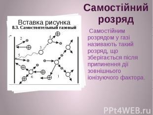 Самостійний розряд Самостійним розрядом у газі називають такий розряд, що зберіг
